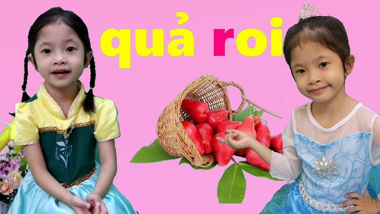 Elsa và Anna Chơi Trò Thách Đố Đoán Chữ Cái Tiếng Việt – Chủ Đề Trái Cây – Bé Học Trái Cây
