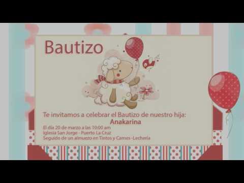 Tarjeta de invitación animada Bautizo 3D