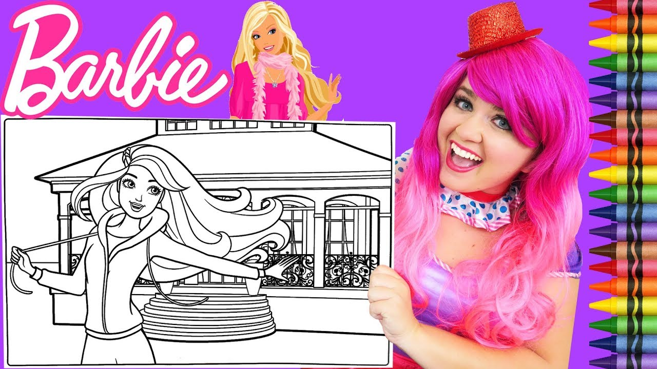 Coloring barbie dreamhouse mansion giant coloring page crayola crayons kimmi the clown