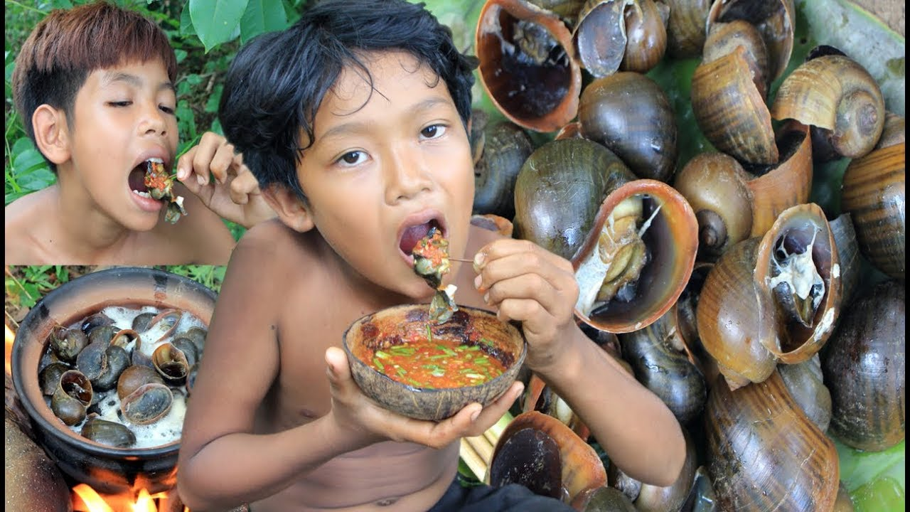 Primitive Technology - Cooking Snail in forest and eating delicious