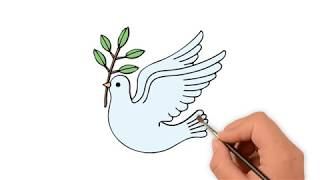 Learn How to draw a Peace dove  - How to draw funny cartoons