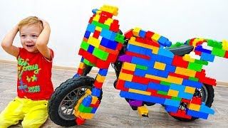 Alice and Dima Ride on Toy Sportbike & pretend play with toys