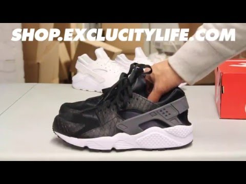 "Nike Huarache Run Premium ""Black Croc"" Unboxing Video at Exclucity"