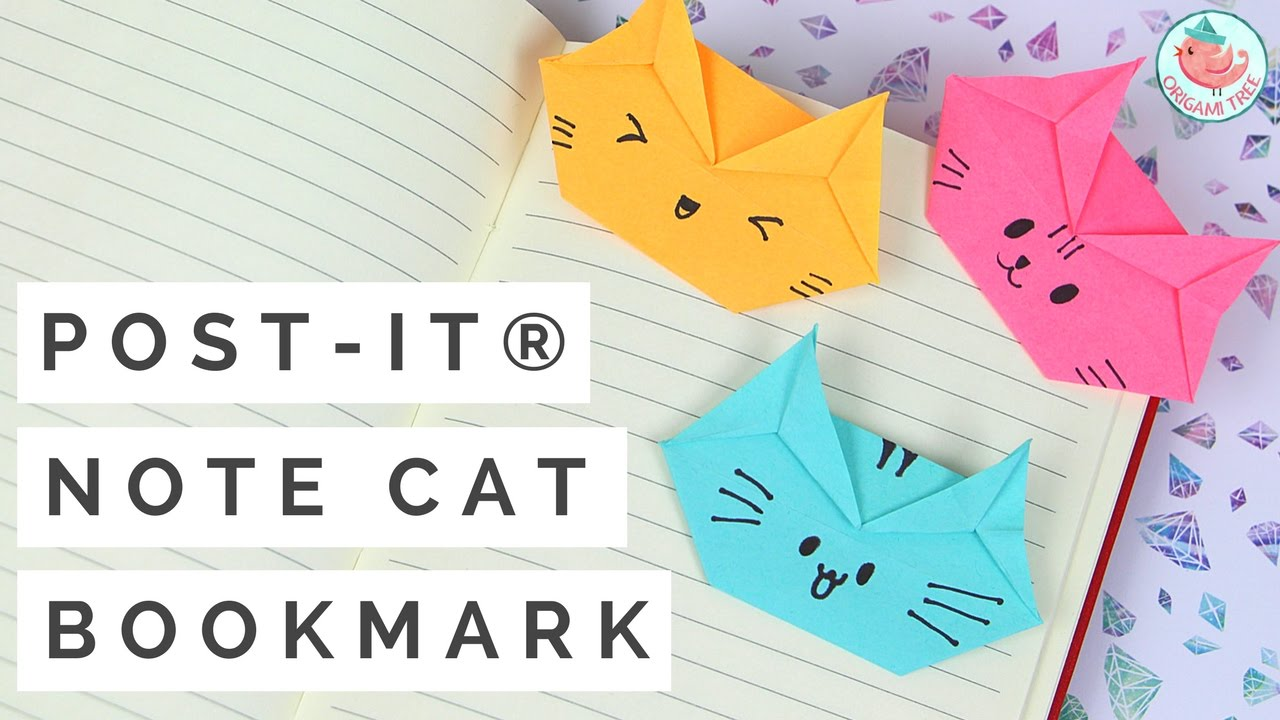 Post it note crafts post it note origami cat bookmark tutorial post it note crafts post it note origami cat bookmark tutorial how to make a cat bookmark jeuxipadfo Images