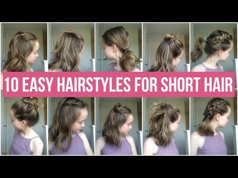 10 EASY HAIRSTYLES FOR SHORT HAIR! QUICK AND SIMPLE HAIRSTYLES FOR ...