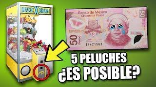 ¿SE PUEDEN SACAR 5 PELUCHES CON SOLO 50 PESOS? | RETO IMPOSIBLE