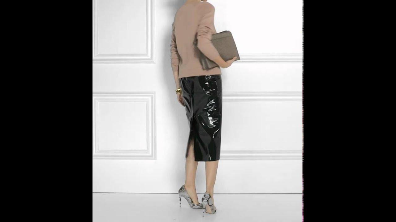 rochas patent leather midi skirt 2