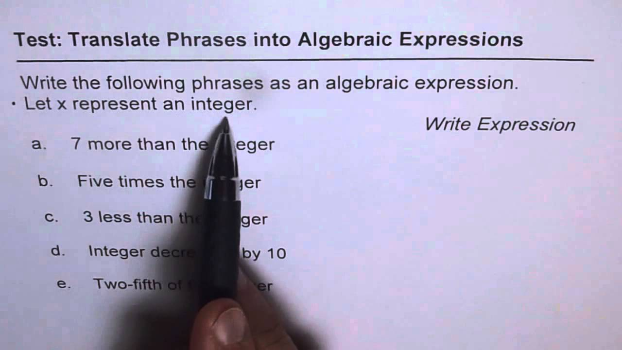 Translate Phrases To Algebraic Expressions Combination