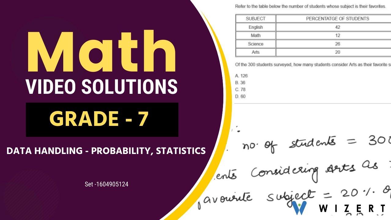 Grade 7 Math Problems - Mathematics Data Handling [ 720 x 1280 Pixel ]