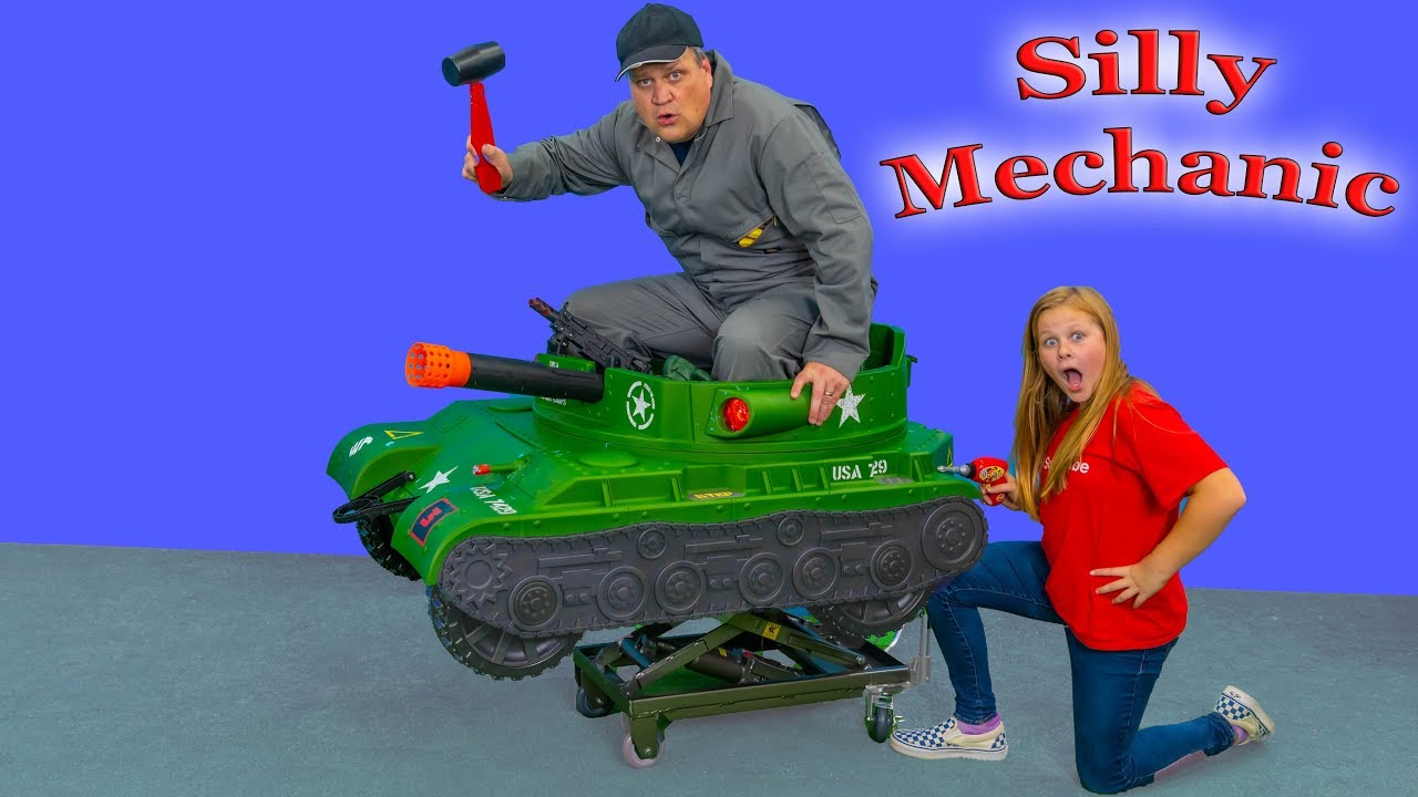 Download Assistant has the Silly Mechanic Work on her Ride On Tank