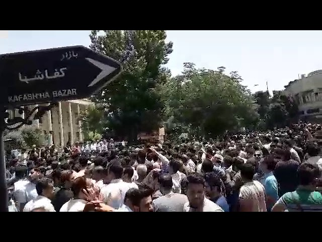 TEHRAN, Iran, June 26, 2018. the protesters are chanting: We need no 10000 dollar toman