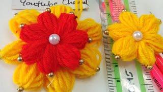 फूल बनाने का सबसे आसान तरीका/ Two Layered Woolen Flower Making Trick
