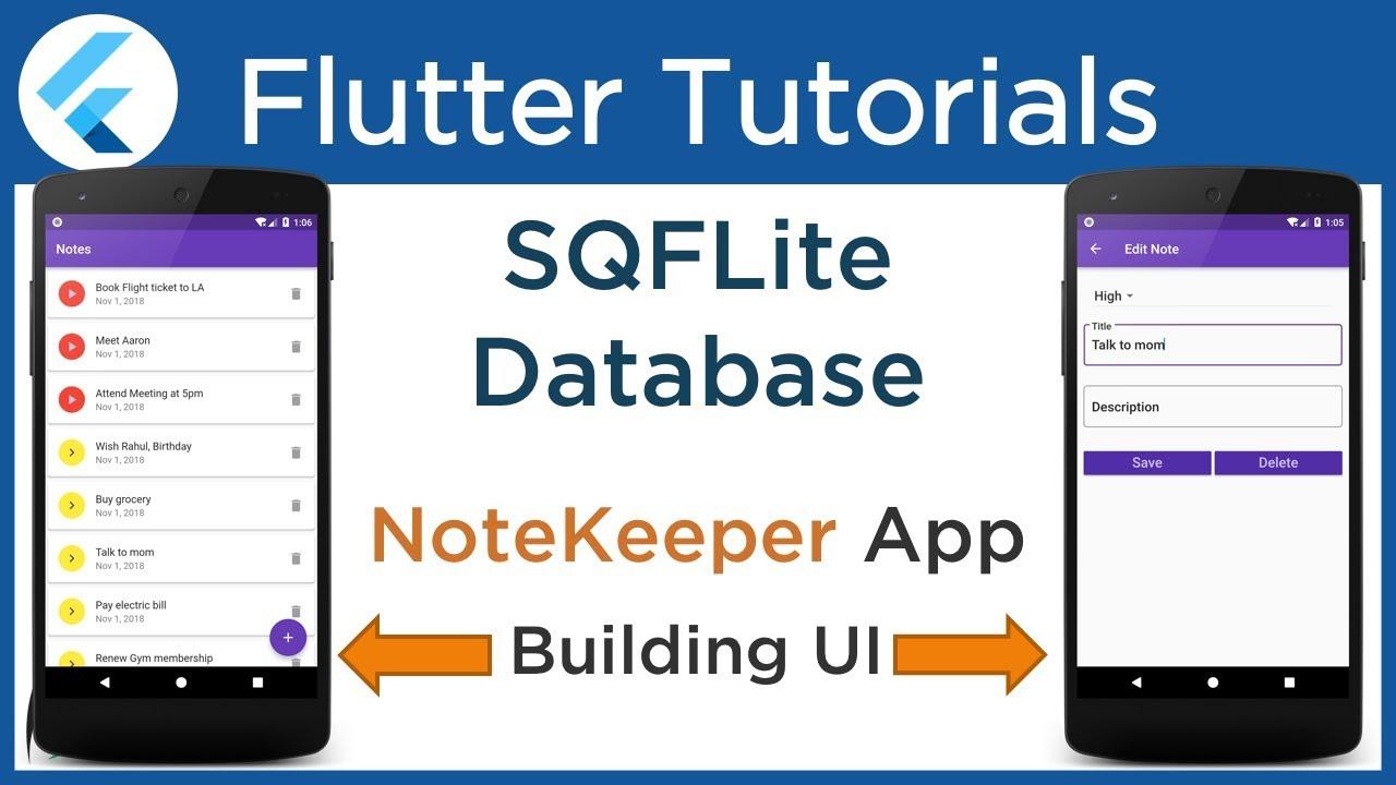 #4 2 Flutter: Building UI for NoteKeeper App  [ SQLite Database Tutorial  using SQFlite Plugin ]