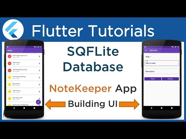 #4.2 Flutter: Building UI for NoteKeeper App. [ SQLite Database Tutorial using SQFlite Plugin ]