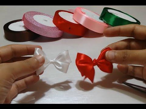 طريقة عمل فيونكة جميلة وسهلة من شرايط الساتان - Ribbon Bow DIY