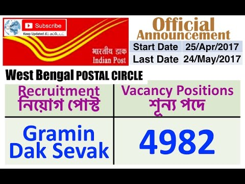 West Bengal Postal Circle | Gramin Dak Sevak Recruitment 2017 | 4982 Vacancy Positions