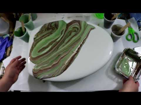 (153) Acrylic Pour on a Toilet Seat Cover!!