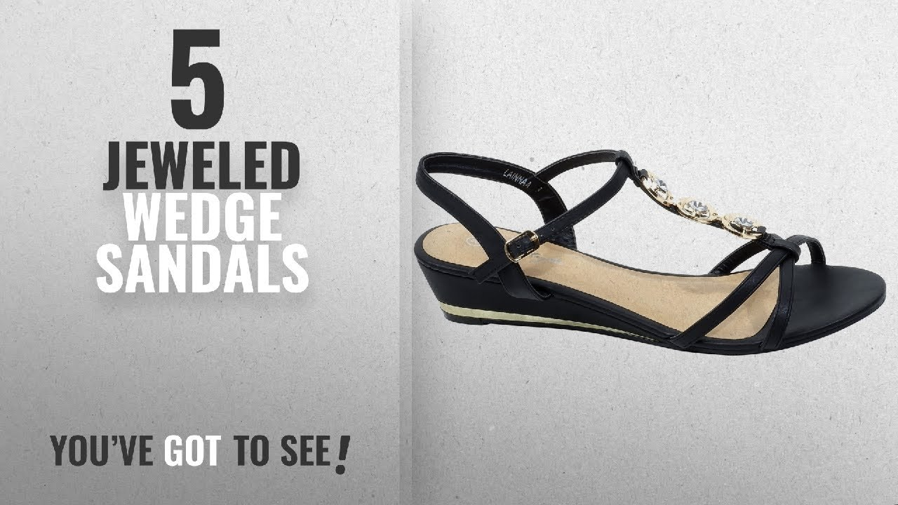 Platforms & Wedges AGOWOO Pull On Open Toe Jeweled Heels