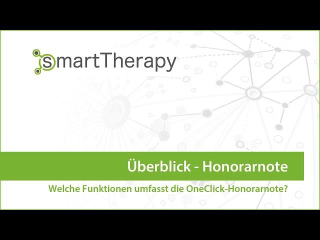 smartTherapy: Honorarnote Überblick