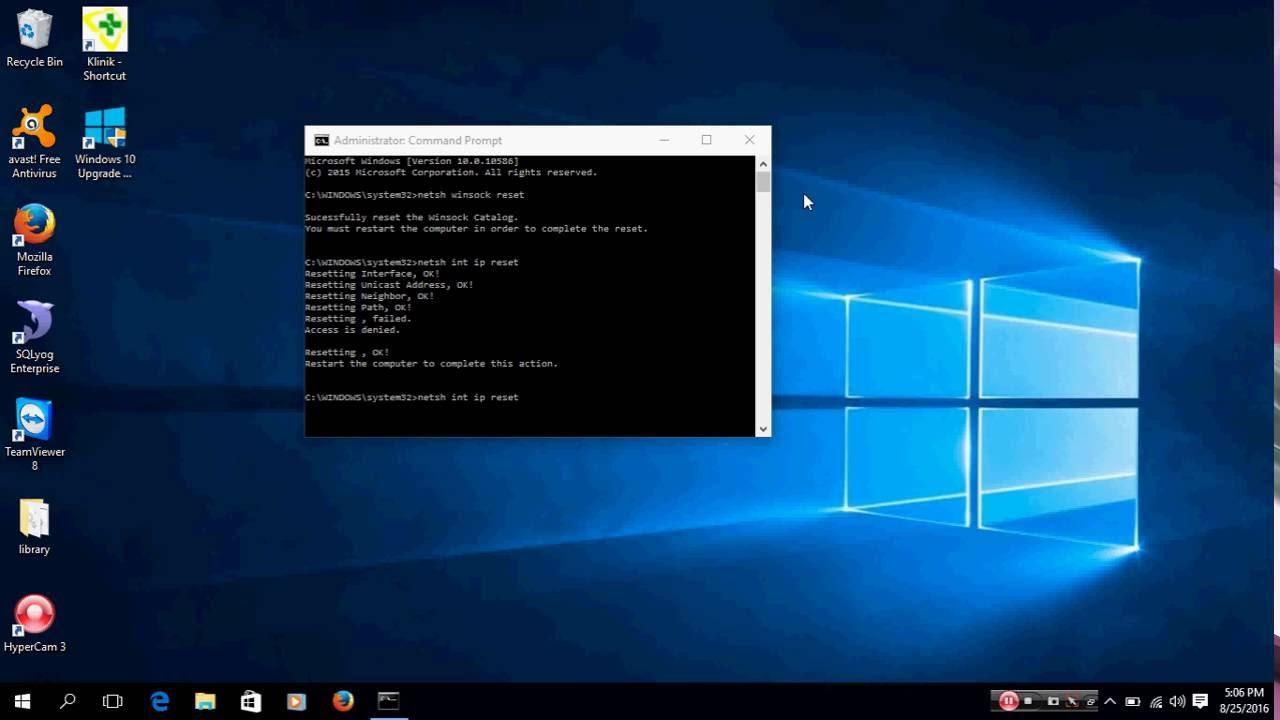 windows 10 reset tcp/ip automatically