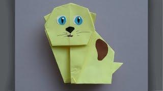 Как Сделать Котенка из Бумаги Своими Руками. Оригами Животные для Детей