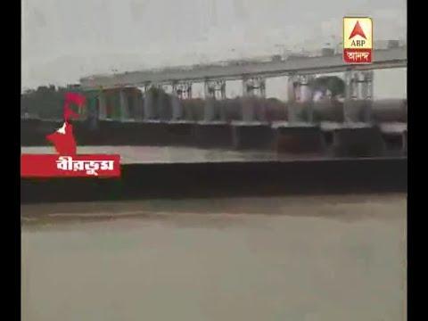 Tilpara Barrage in danger level due to heavy rain at Birbhum