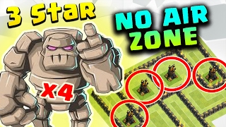 QUADGOBOLO : 4 GOLEMS TH9 SUPER STRONG WAR ATTACK STRATEGY (3 STAR NO AIR ZONE BASE)| Clash of Clans
