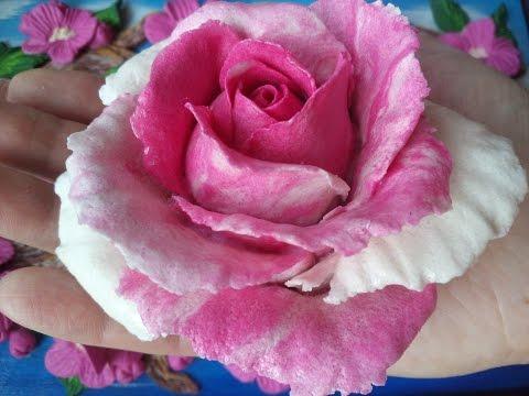 Рецепт цветного солёного теста для лепки двухцветной розы (цветов). Цветное солёное тесто.