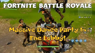 98) Fortnite Battle Royale Massive Dance Party In The Lobby! (+ Commentary).