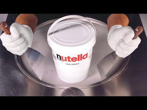 Massive Nutella Bucket Ice Cream Rolls   making Ice Cream out of Chocolate Hazelnut Spread - ASMR