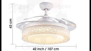 "[Bird Nest] DC Motor 42"" Retractable Blade Ceiling Fan W/ LED Light & Remote"