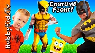 COOL COSTUMES + FIGHT BATTLES! Batman, Spiderman n