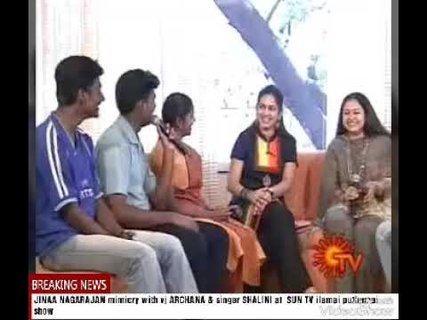 Jinaa nagarajan Mimicry with vj ARCHANA & singer SHALINI at SUN TV thumbnail