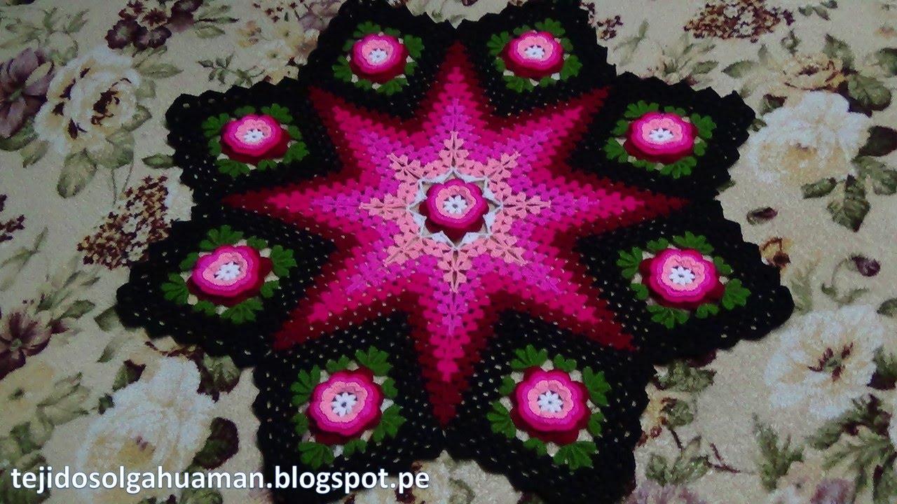 Tapete o Carpeta tejido a crochet de 8 cuadrados con flores paso a ...