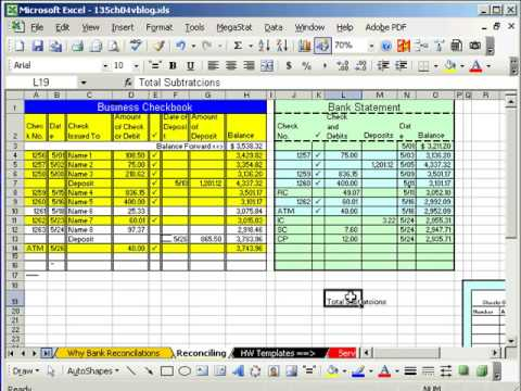 Excel Busn Math  Bank Reconciliation  Youtube