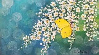 White Flowers with Yellow Butterfly Acrylic Painting LIVE Tutorial