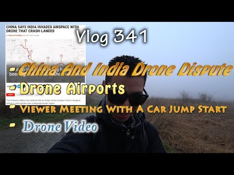 China And India Drone Territory Dispute And Drone Airports With A Car Jump Start Foggy Day