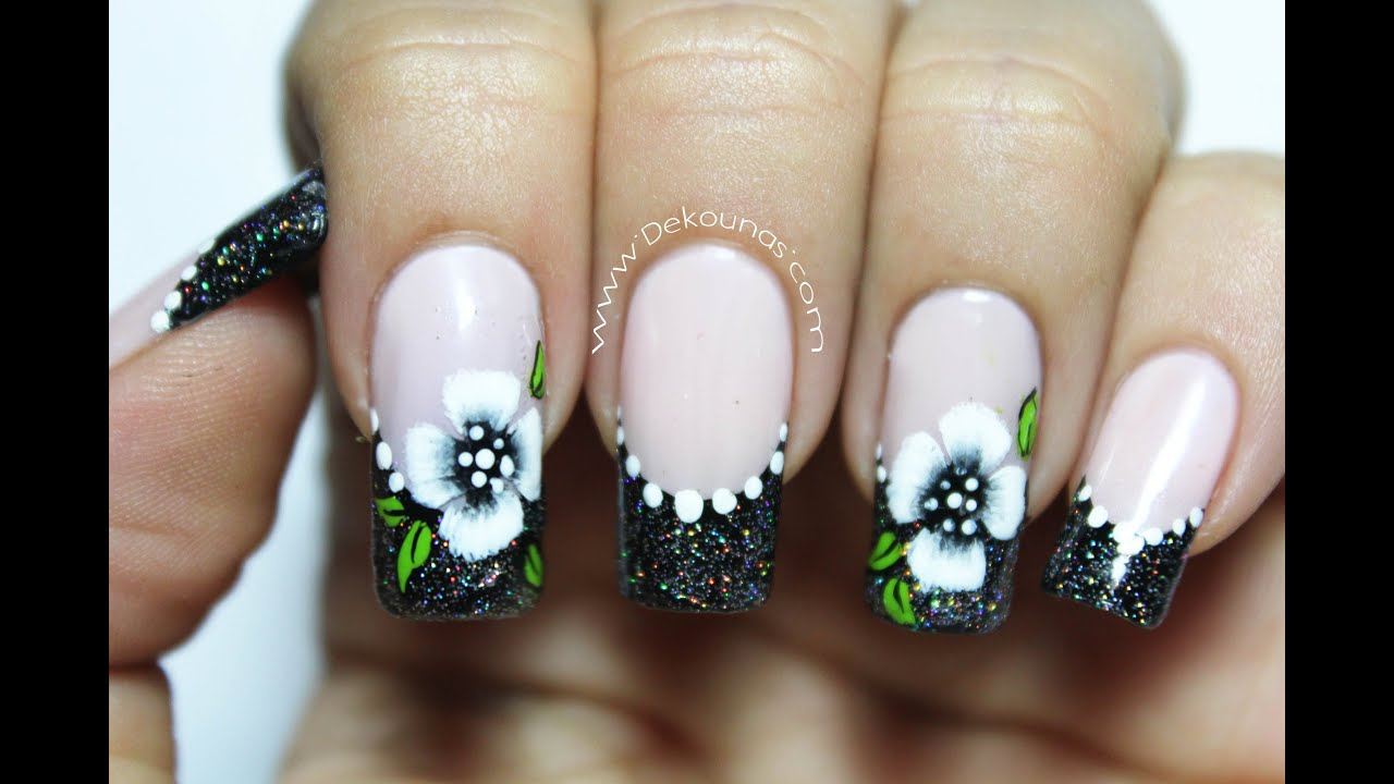 Decoracion de u as flores pinceladas facil easy nail art for Unas facil de decorar en casa
