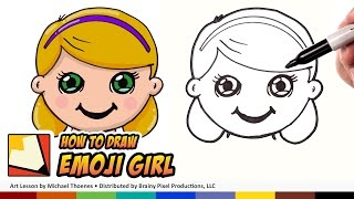 How to Draw Girl Emoji For Beginners Step by Step Art for Kids