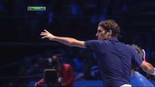 Roger Federer slow motion forehand from   ATP WORLD TOUR 2011 vs Nadal