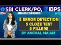 SBI PO/CLERK | 5 Cloze Test + 5 Fillers + 5 Error Detection