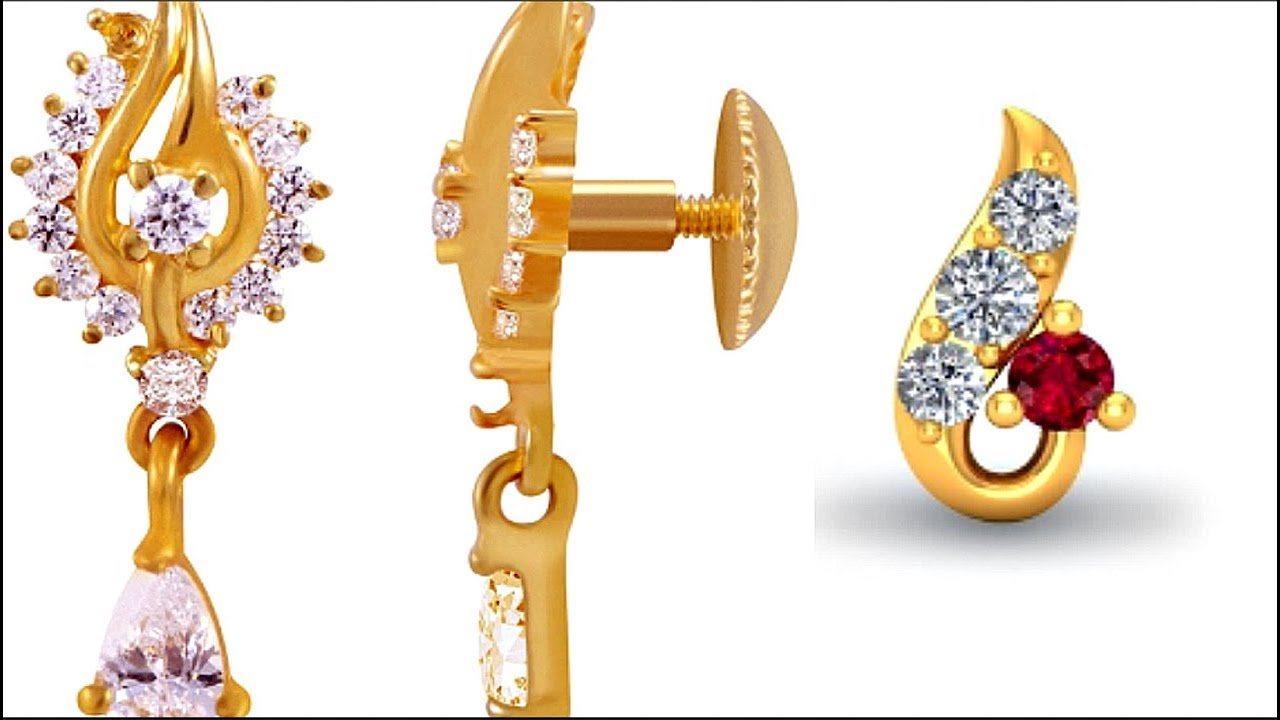 Excellent Gold Stud Earrings Designs Online - Small Gold Earrings ...
