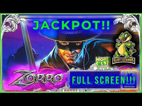 Giant Zorro Slot Machine Rare Jackpot Handpay Bonus** Mighty Cash!!** with Retriggers! 10¢