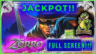 Giant Zorro Slot Machine Rare Jackpot Handpay Bonus** Mighty Cash!!** with Retriggers! 10¢