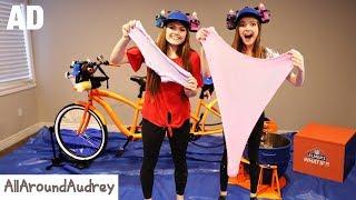 SLiME TiME! Making SLiME DIY With A Tandem Bicycle? | AllAroundAudrey