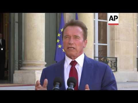 Macron talks with Schwarzenegger on climate