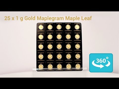 25 x 1 Gramm MapleGram Goldmünzen in 360° Ansicht