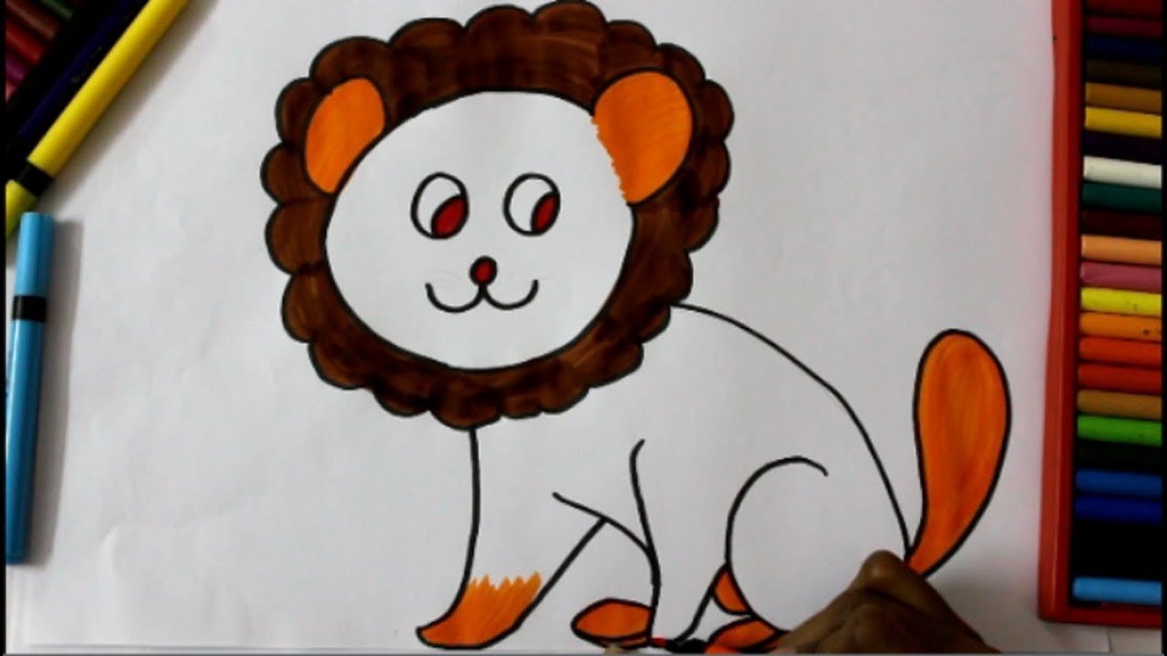 How to Draw a Lion Cute and Easy || Lion Cub drawing for Kids in ...