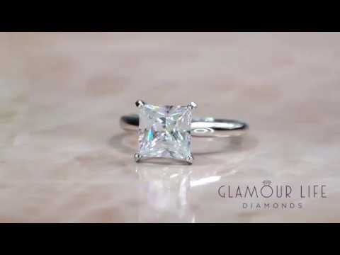 2.5 Ct Princess Cut Solitaire Simulated Diamond Engagement Ring