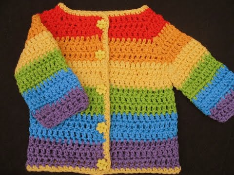 Easy Crochet Baby Cardigan Sweater Tutorial Example Youtube